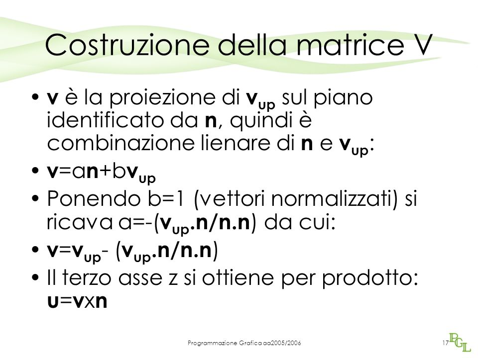 Costruzione della matrice V