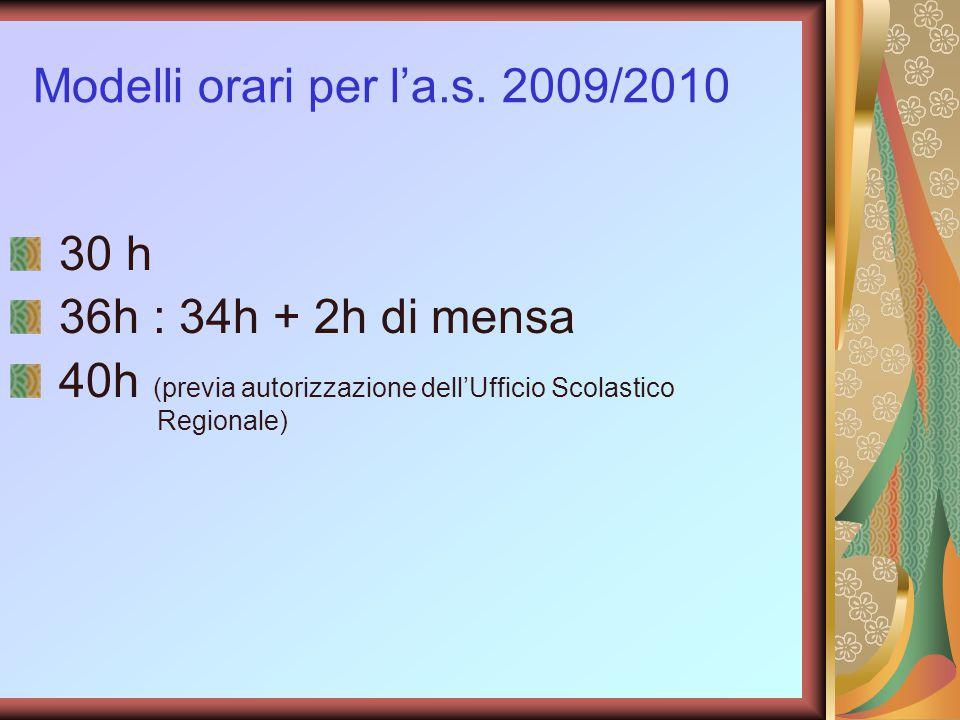 Modelli orari per l'a.s. 2009/2010