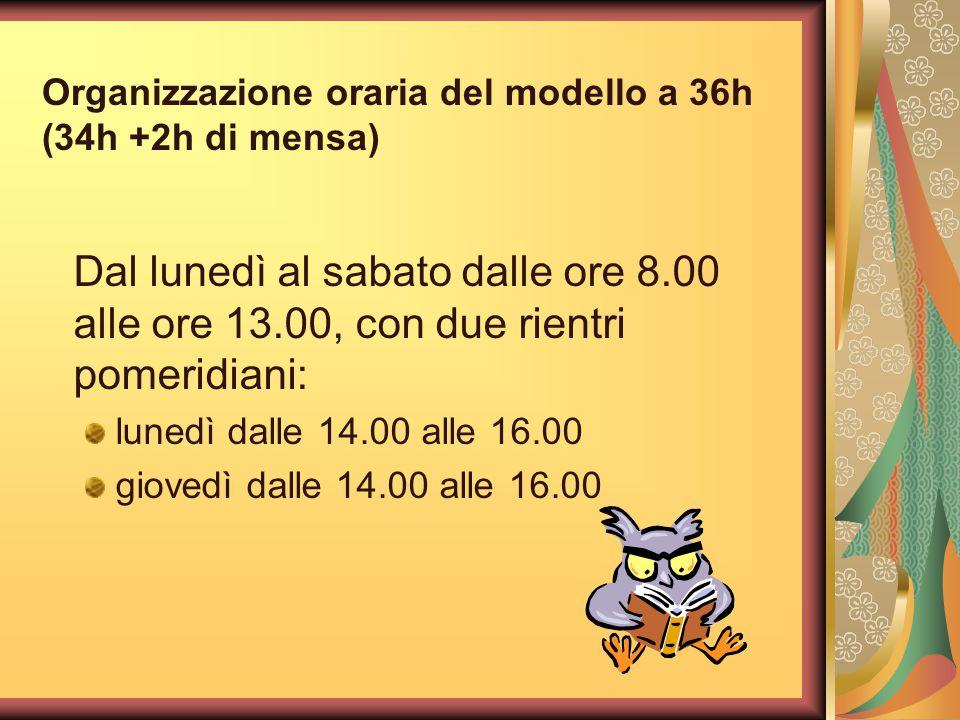 Organizzazione oraria del modello a 36h (34h +2h di mensa)