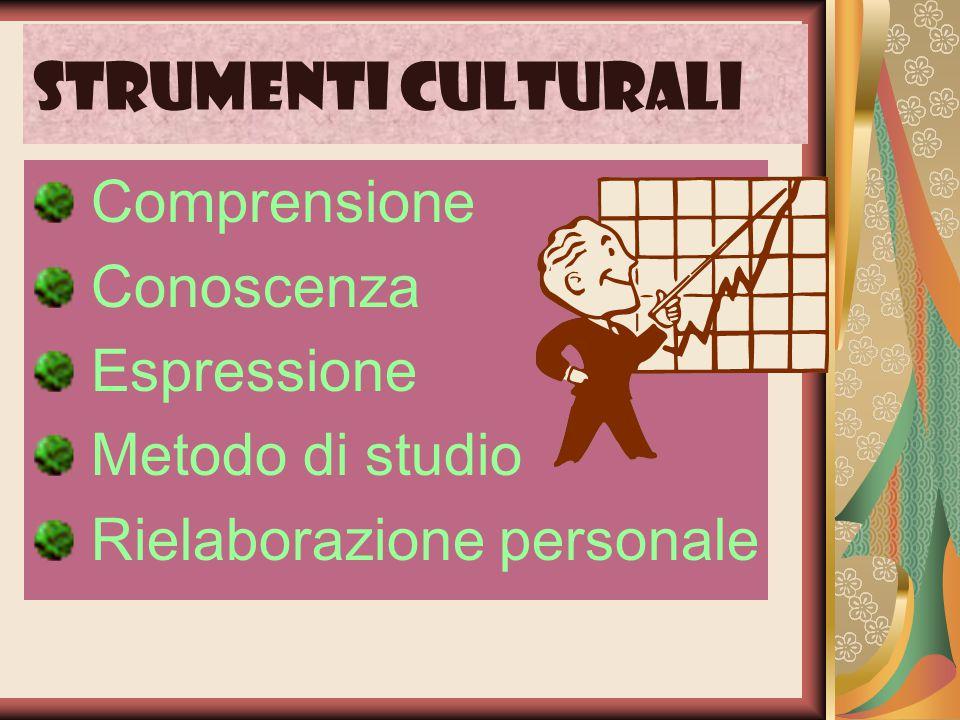 Strumenti culturali Comprensione Conoscenza Espressione