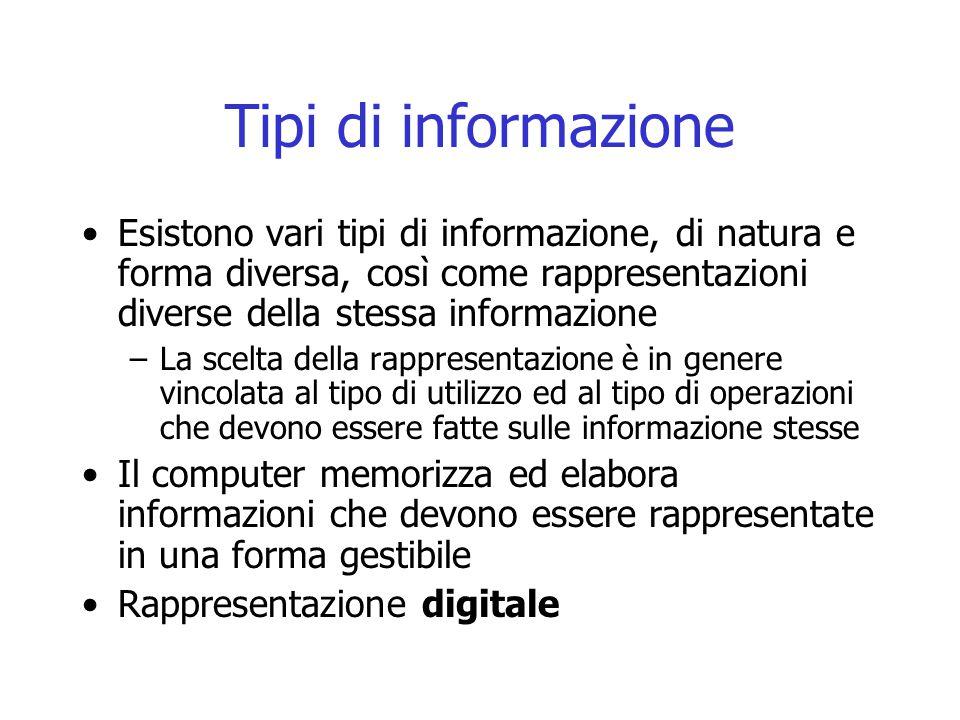 Tipi di informazione Esistono vari tipi di informazione, di natura e forma diversa, così come rappresentazioni diverse della stessa informazione.