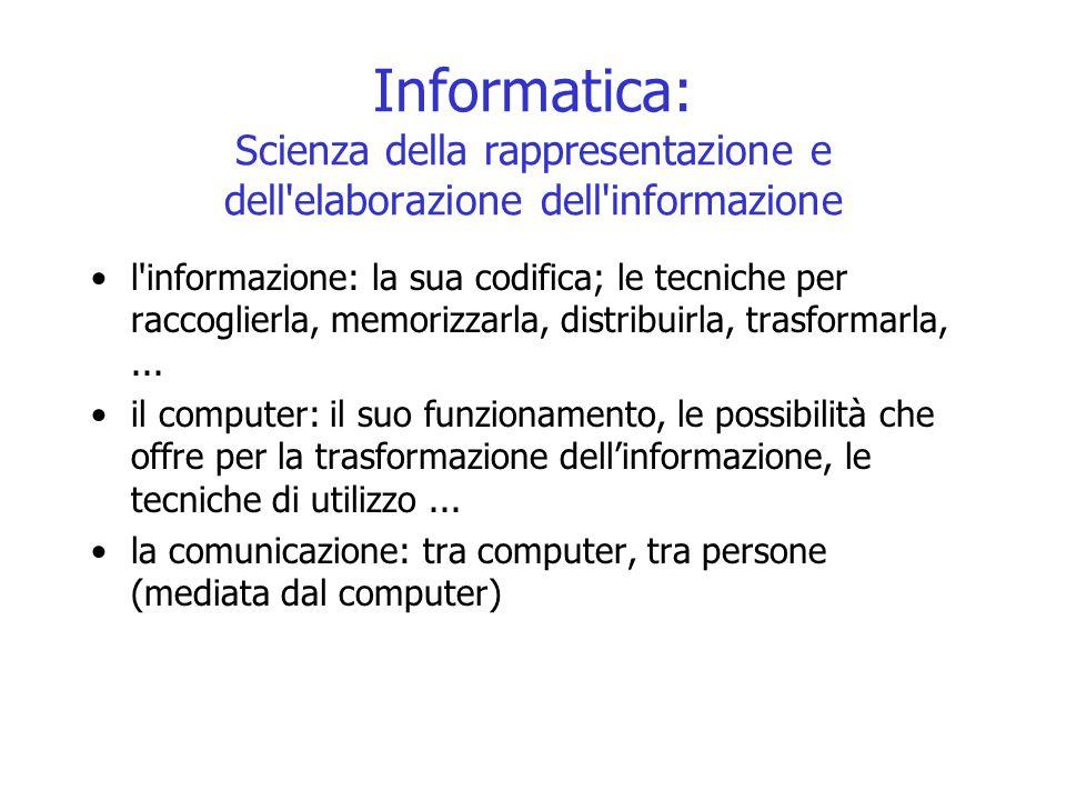 Informatica: Scienza della rappresentazione e dell elaborazione dell informazione