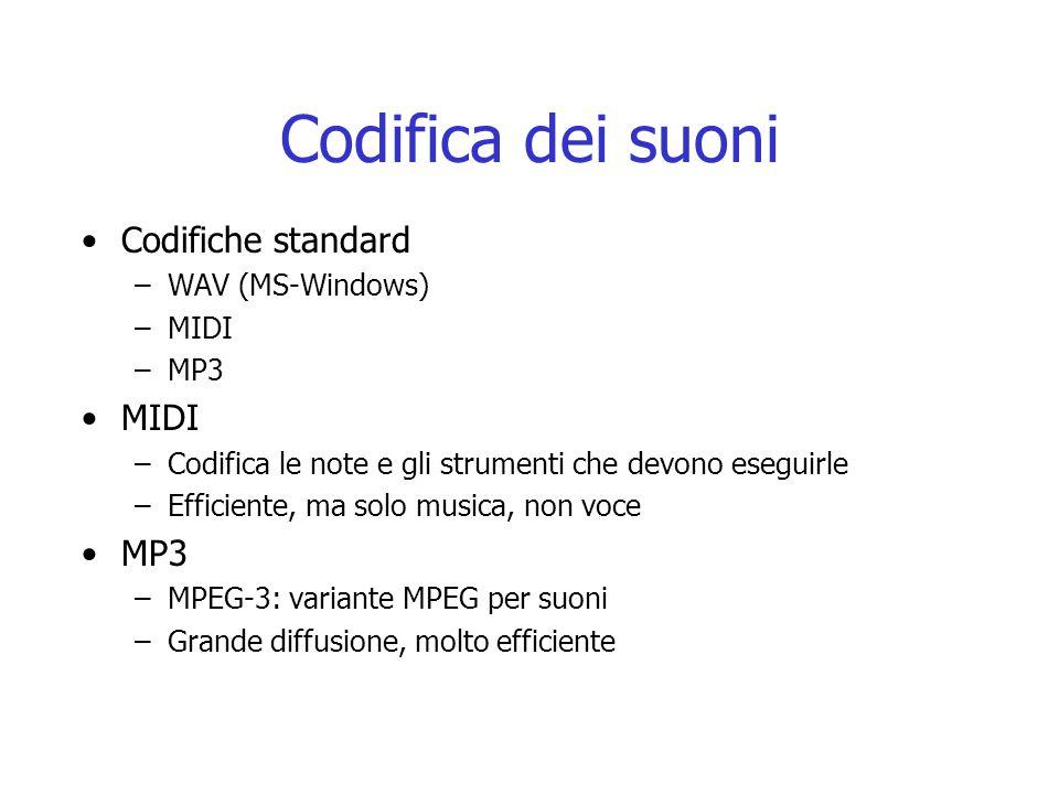 Codifica dei suoni Codifiche standard WAV (MS-Windows) MIDI MP3