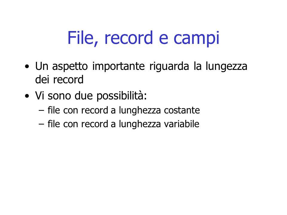 File, record e campi Un aspetto importante riguarda la lungezza dei record. Vi sono due possibilità: