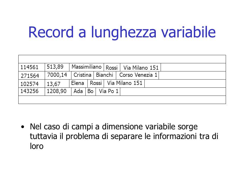 Record a lunghezza variabile