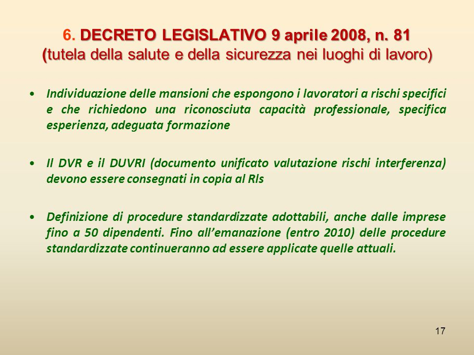 6. DECRETO LEGISLATIVO 9 aprile 2008, n