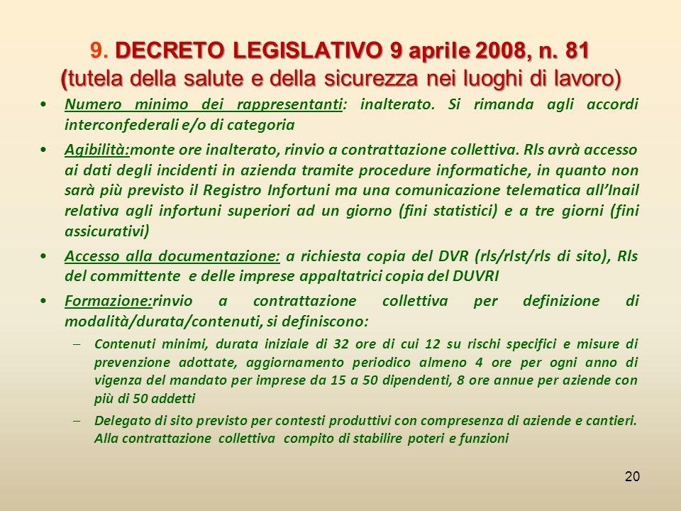 9. DECRETO LEGISLATIVO 9 aprile 2008, n
