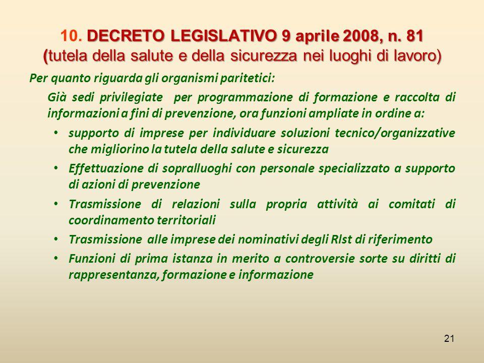 10. DECRETO LEGISLATIVO 9 aprile 2008, n