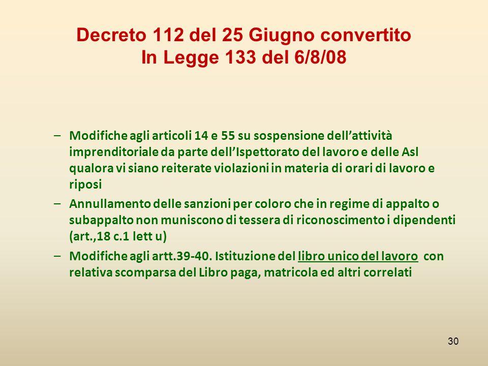 Decreto 112 del 25 Giugno convertito In Legge 133 del 6/8/08