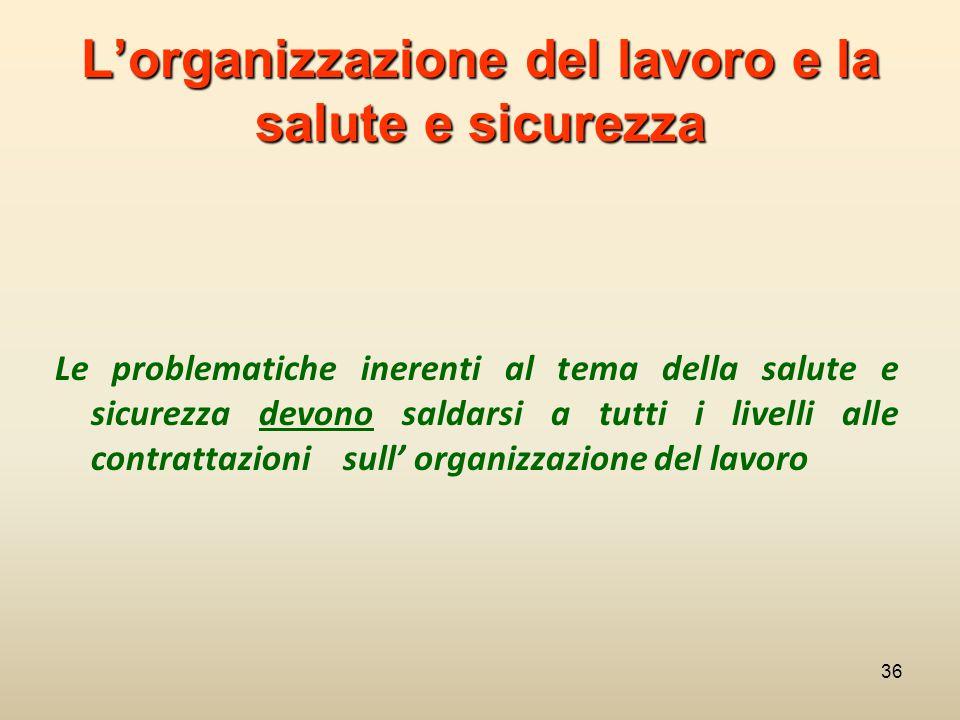 L'organizzazione del lavoro e la salute e sicurezza