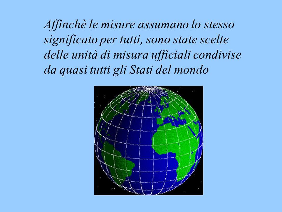 Affinchè le misure assumano lo stesso significato per tutti, sono state scelte delle unità di misura ufficiali condivise da quasi tutti gli Stati del mondo