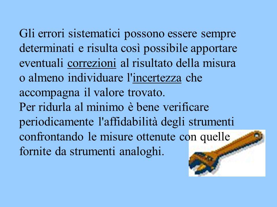 Gli errori sistematici possono essere sempre determinati e risulta così possibile apportare eventuali correzioni al risultato della misura o almeno individuare l incertezza che accompagna il valore trovato.
