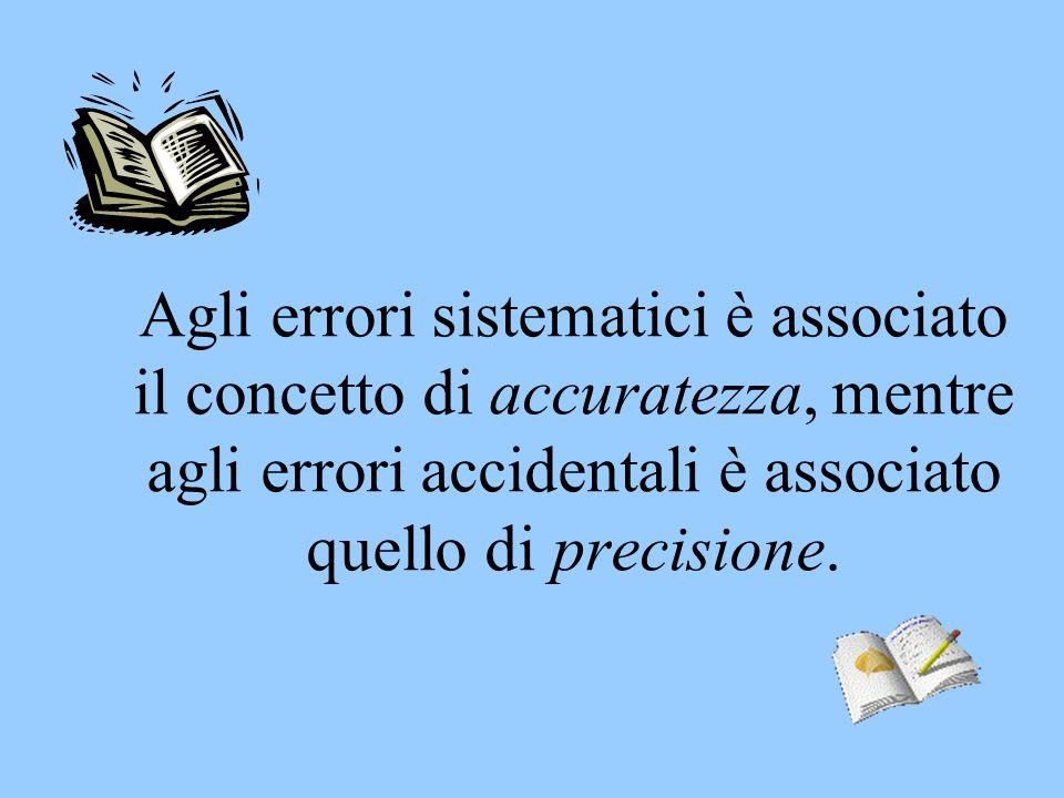 Agli errori sistematici è associato il concetto di accuratezza, mentre agli errori accidentali è associato quello di precisione.