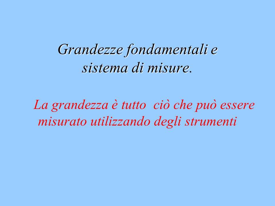 Grandezze fondamentali e sistema di misure.