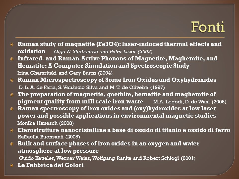 Fonti Raman study of magnetite (Fe3O4): laser-induced thermal effects and oxidation Olga N. Shebanova and Peter Lazor (2003)