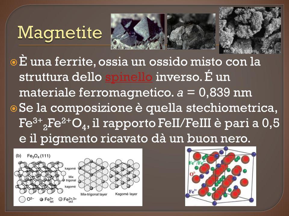 Magnetite È una ferrite, ossia un ossido misto con la struttura dello spinello inverso. É un materiale ferromagnetico. a = 0,839 nm.