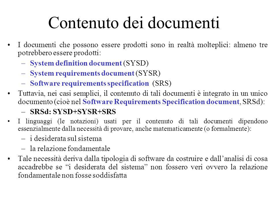 Contenuto dei documenti