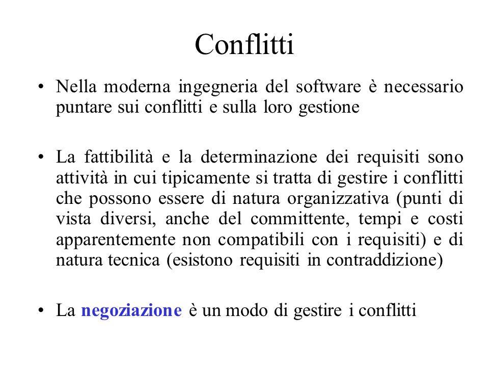 Conflitti Nella moderna ingegneria del software è necessario puntare sui conflitti e sulla loro gestione.
