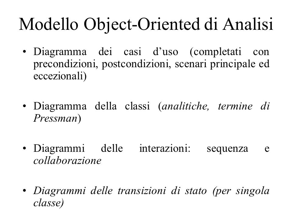 Modello Object-Oriented di Analisi