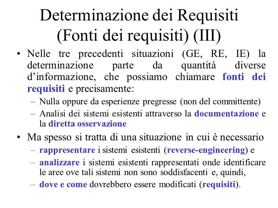 Determinazione dei Requisiti (Fonti dei requisiti) (III)