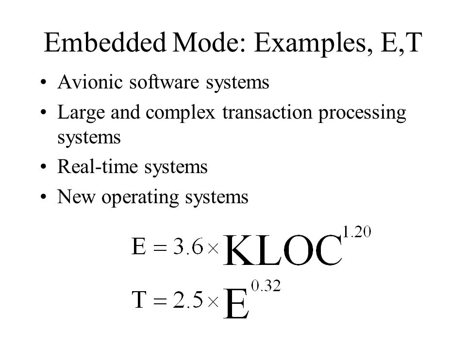Embedded Mode: Examples, E,T