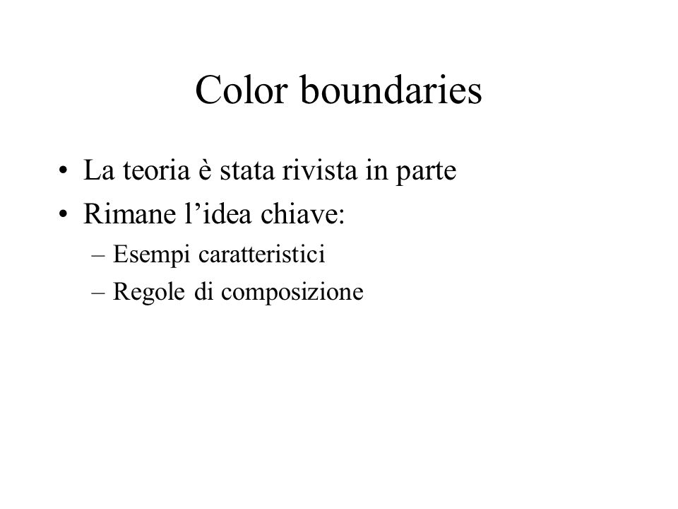 Color boundaries La teoria è stata rivista in parte