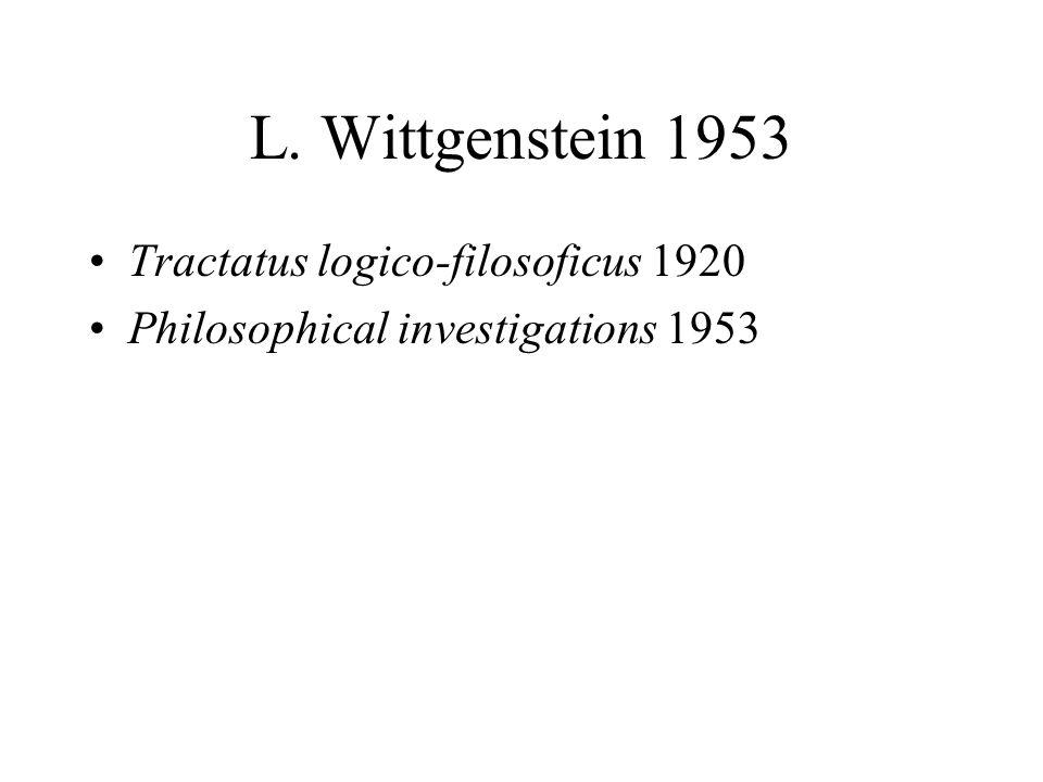 L. Wittgenstein 1953 Tractatus logico-filosoficus 1920