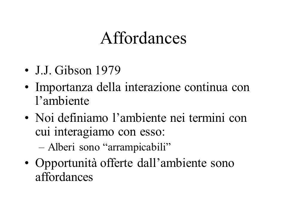 Affordances J.J. Gibson 1979. Importanza della interazione continua con l'ambiente.