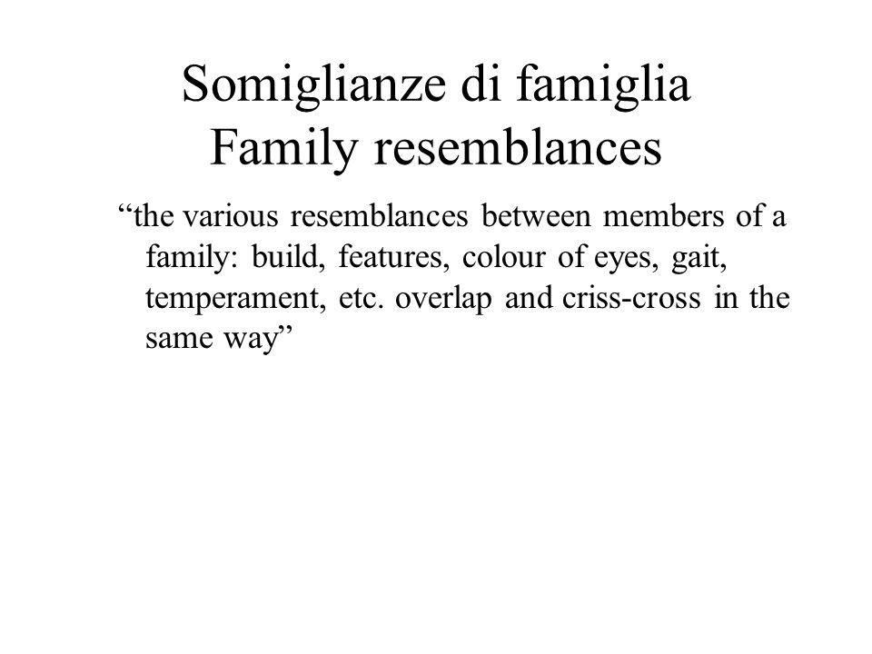 Somiglianze di famiglia Family resemblances