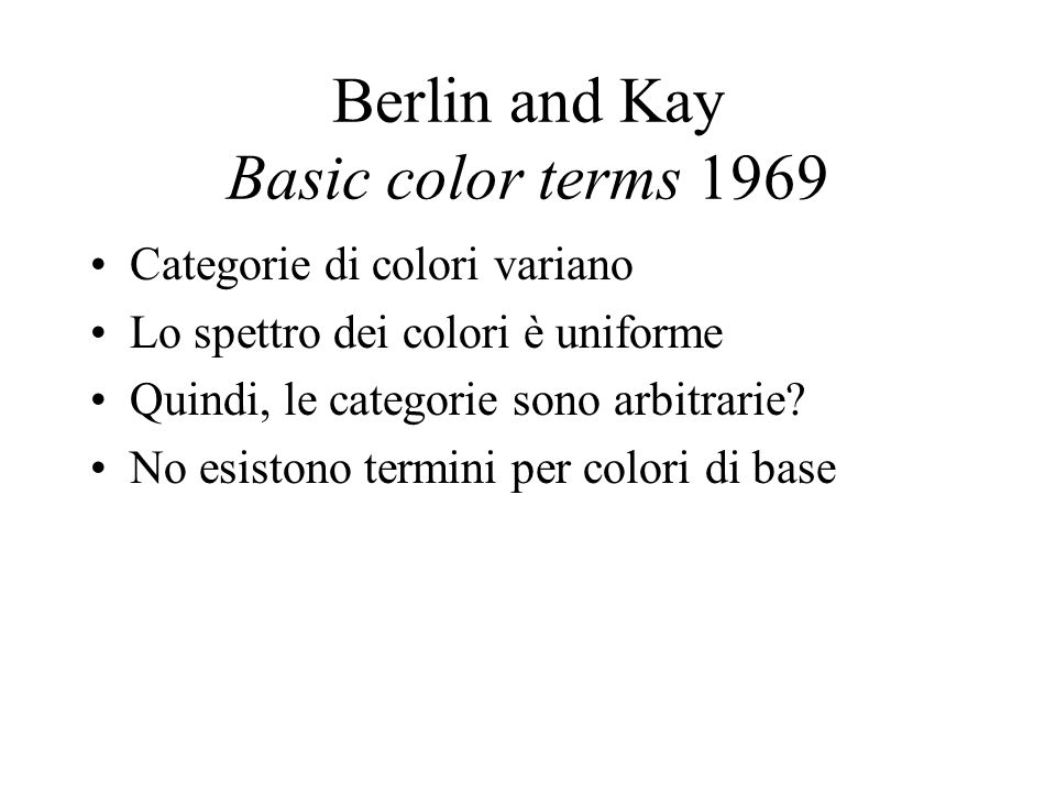 Berlin and Kay Basic color terms 1969