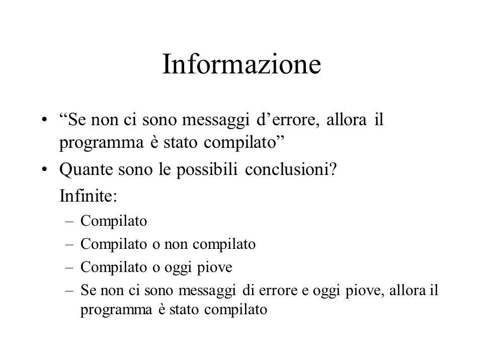 Informazione Se non ci sono messaggi d'errore, allora il programma è stato compilato Quante sono le possibili conclusioni