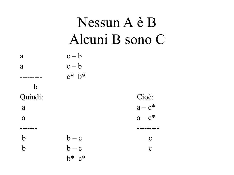 Nessun A è B Alcuni B sono C
