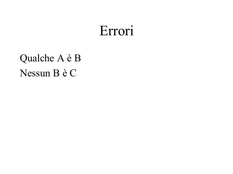 Errori Qualche A è B Nessun B è C