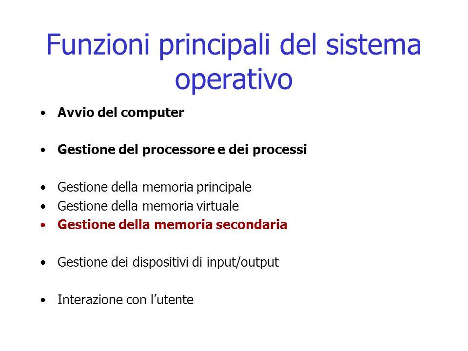 Funzioni principali del sistema operativo