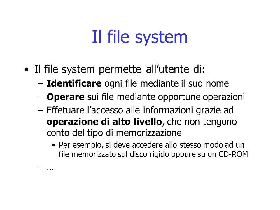 Il file system Il file system permette all'utente di: