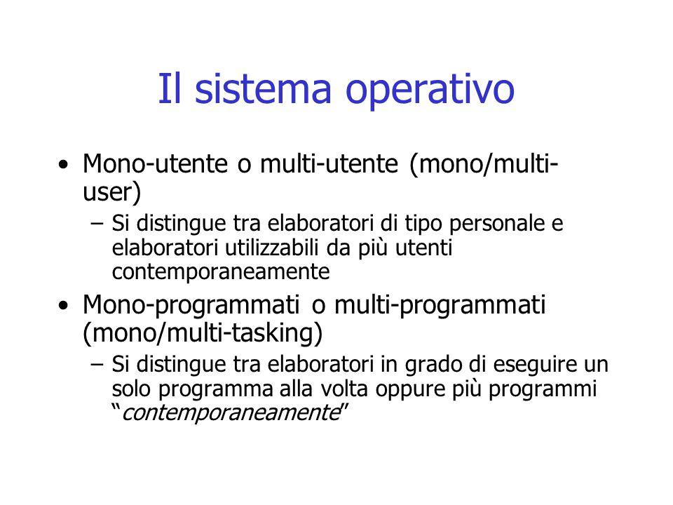 Il sistema operativo Mono-utente o multi-utente (mono/multi-user)