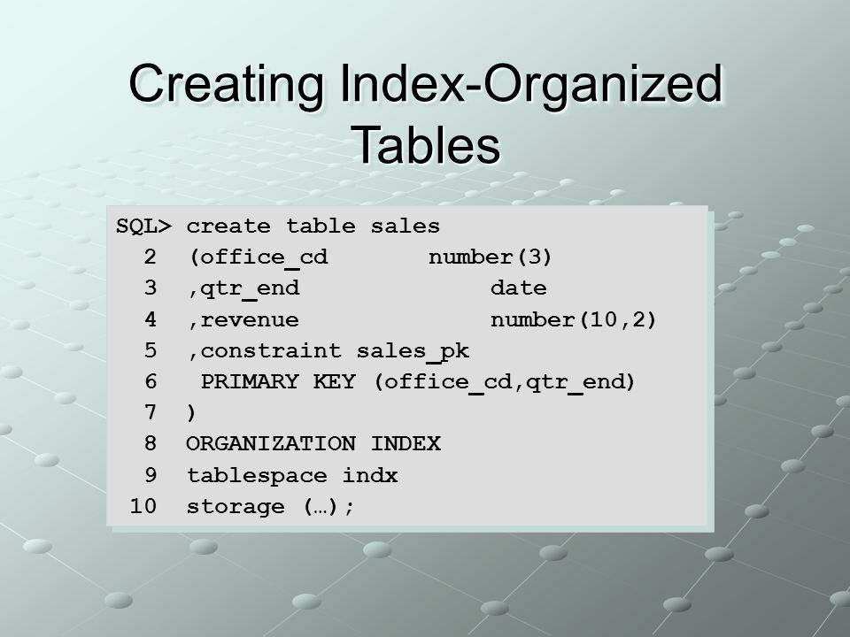 Creating Index-Organized Tables