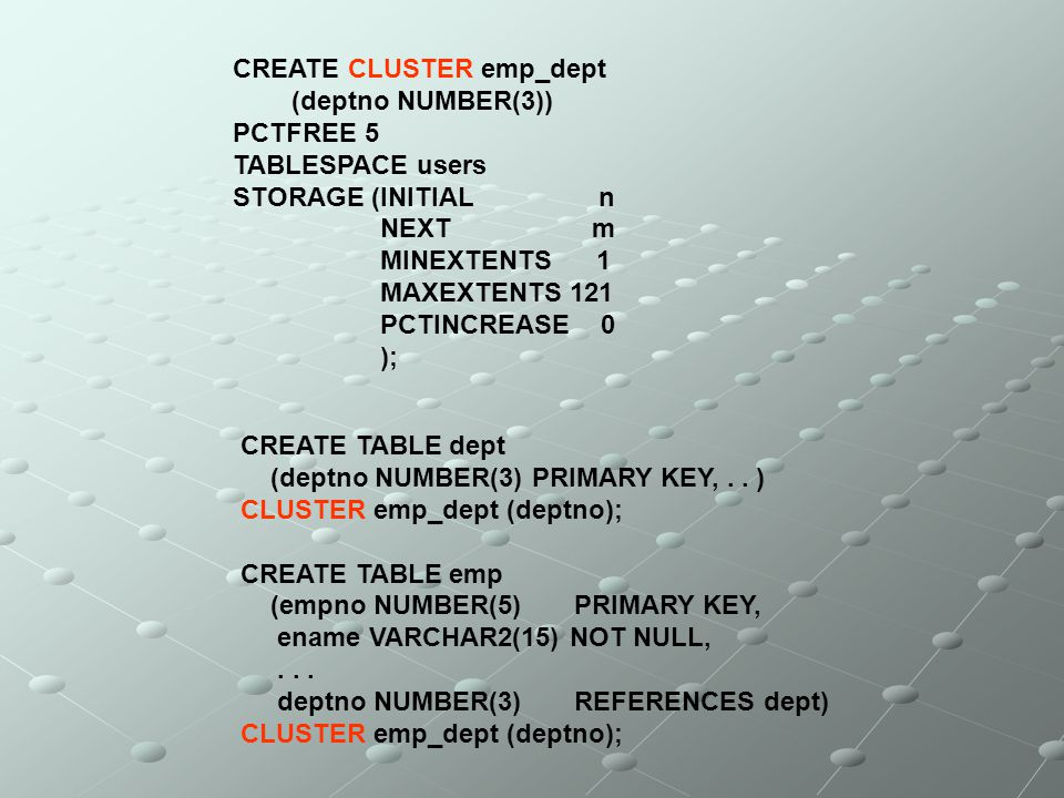 CREATE CLUSTER emp_dept