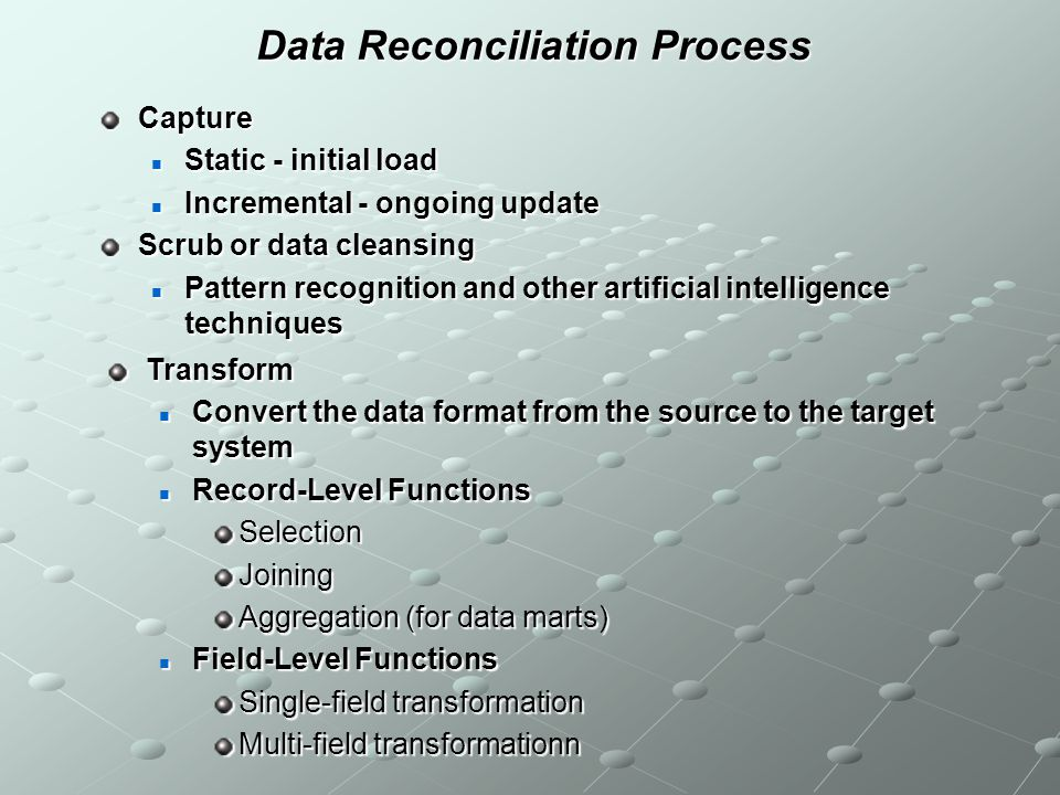 Data Reconciliation Process