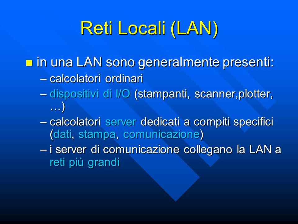 Reti Locali (LAN) in una LAN sono generalmente presenti: