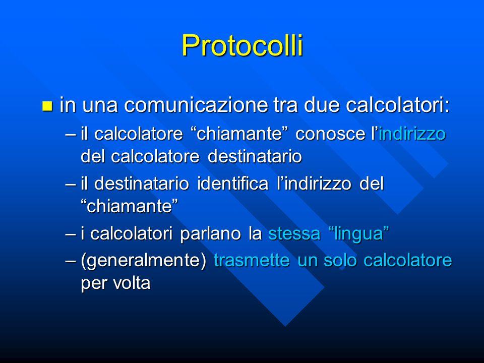 Protocolli in una comunicazione tra due calcolatori: