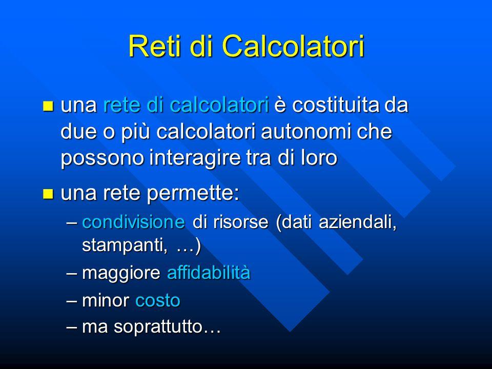 Reti di Calcolatori una rete di calcolatori è costituita da due o più calcolatori autonomi che possono interagire tra di loro.