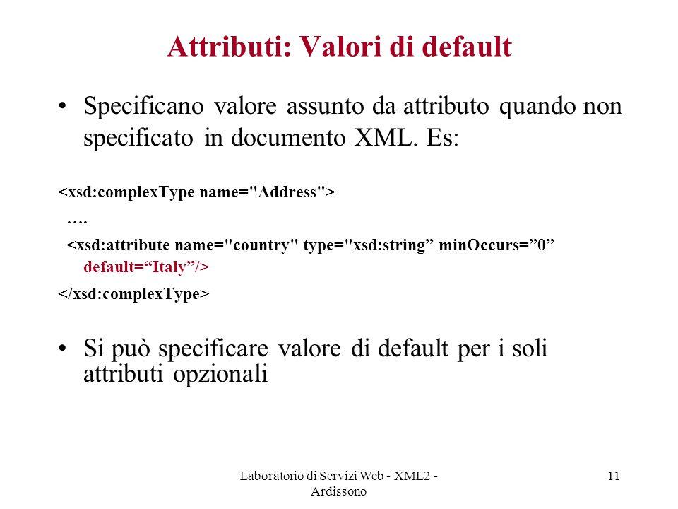 Attributi: Valori di default