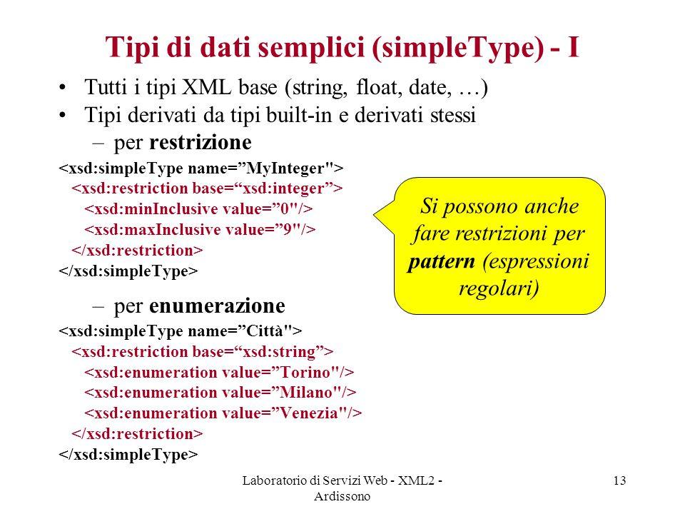 Tipi di dati semplici (simpleType) - I