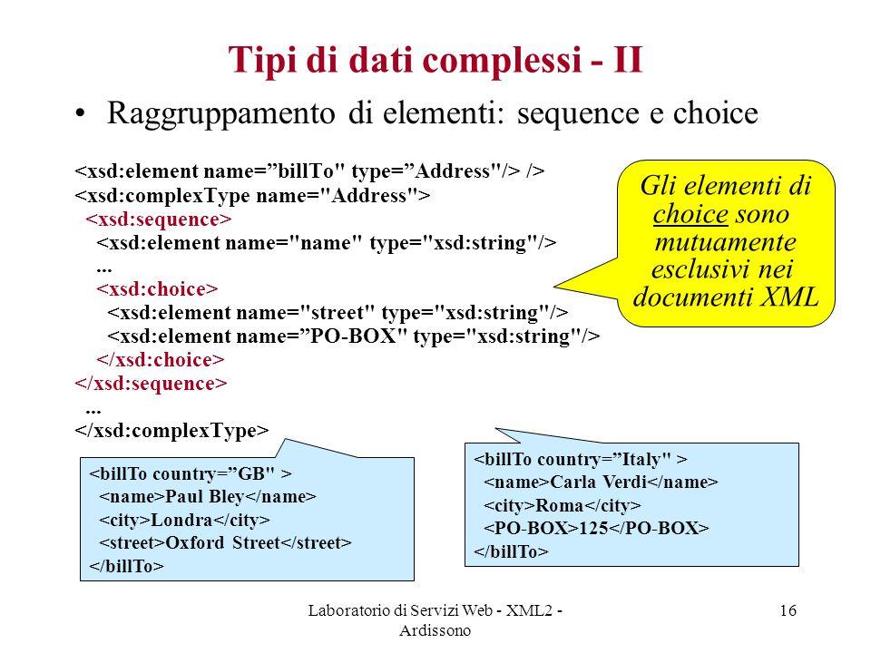 Tipi di dati complessi - II