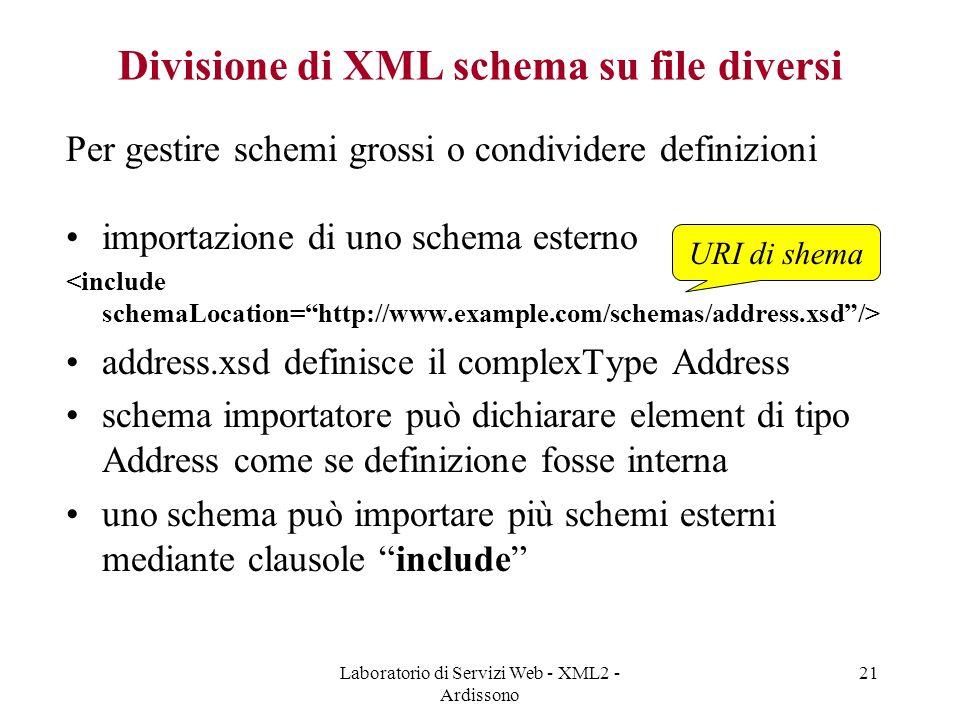 Divisione di XML schema su file diversi