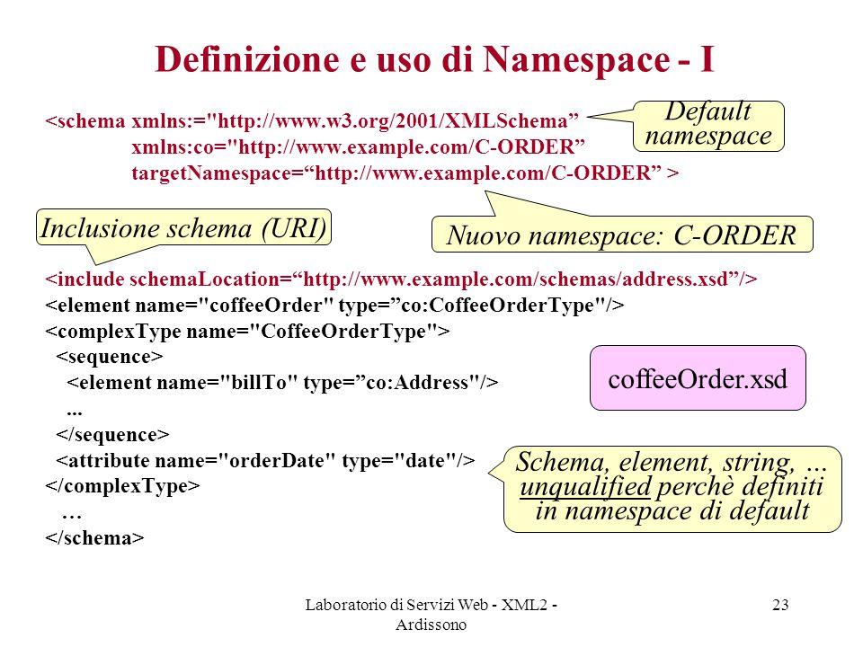 Definizione e uso di Namespace - I