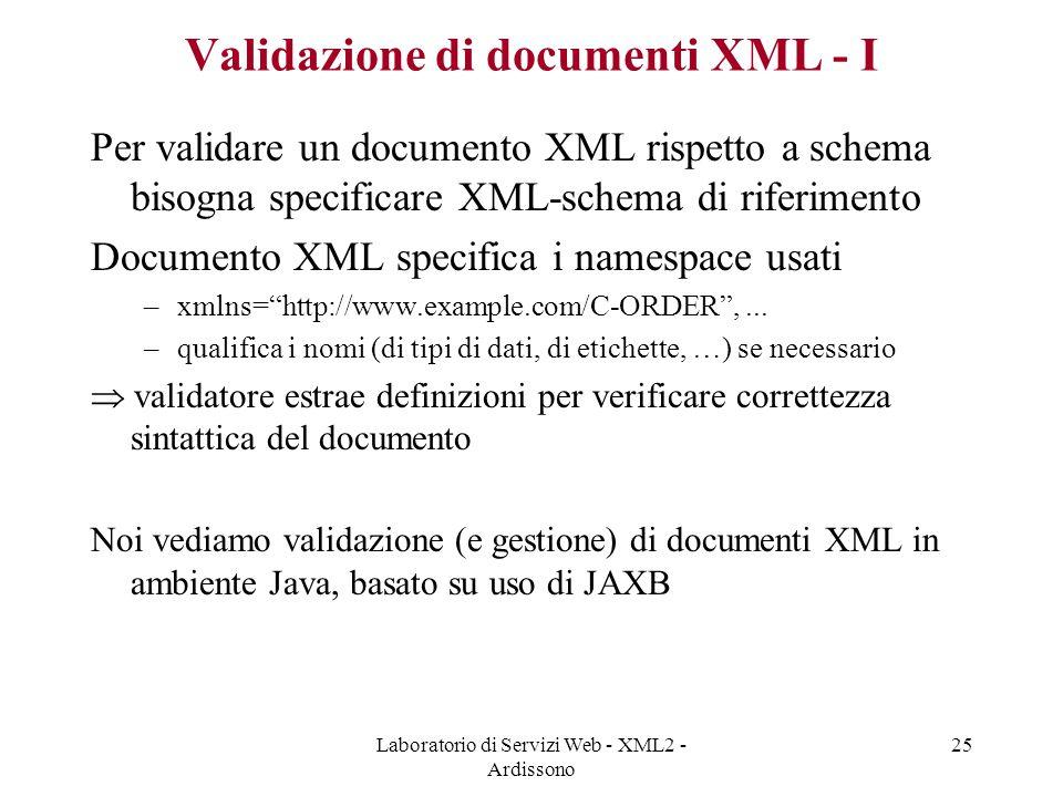 Validazione di documenti XML - I