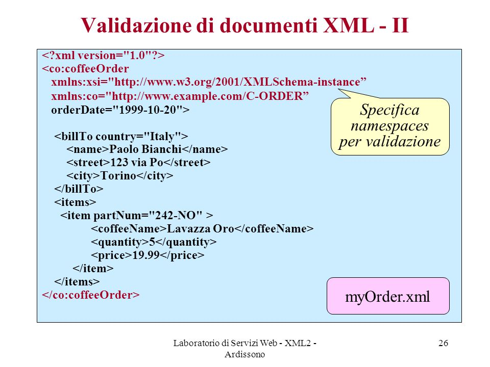Validazione di documenti XML - II