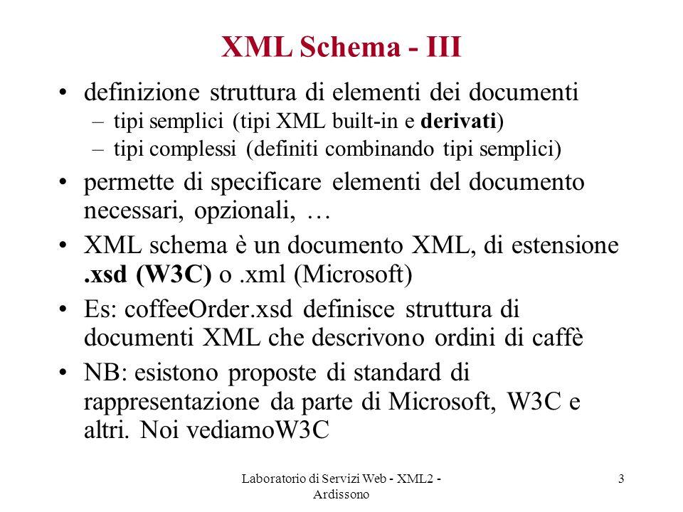 Laboratorio di Servizi Web - XML2 - Ardissono